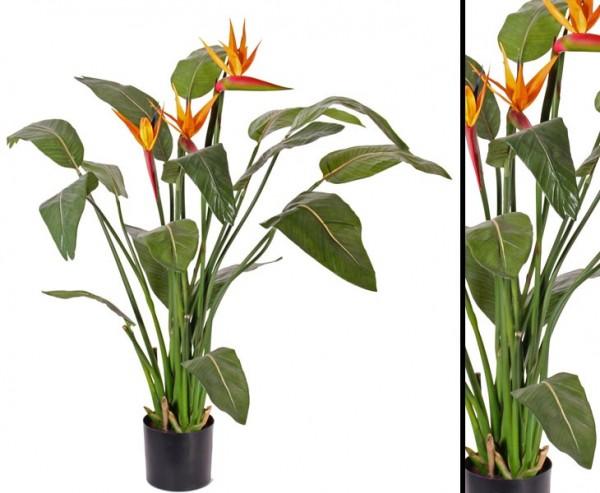 Strelitzia künstliche Blume mit 3 Blüten, 16 Blätter, Höhe ca. 110cm