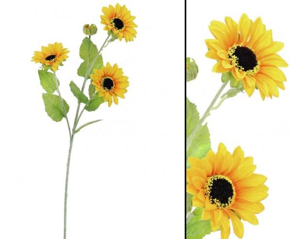 Sonnenblumen Zweig mit 3 offenen Blütenköpfe, Länge 70cm