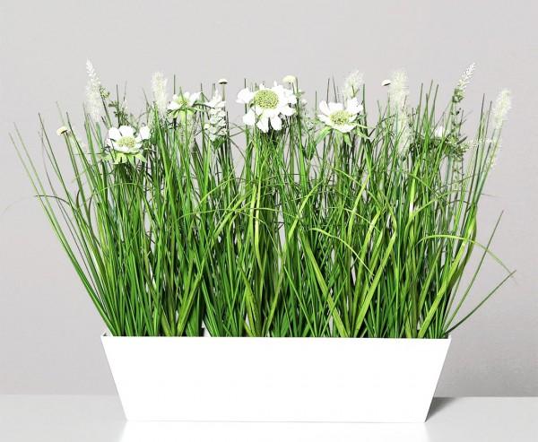 Kunstblumen Wiesen Arrangement creme-weiß farbig in Schale mit 42cm