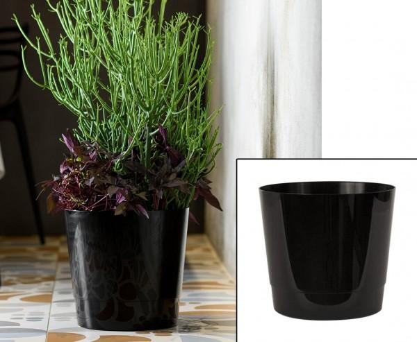 Rollbarer günstiger Übertopf in Schwarz Höhe 29cm und Ø 30cm passend für viele Bepflanzungen