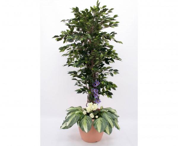 Ficus Benjamini Kunstbaum Arrangement mit weißen Geranien Höhe 180cm