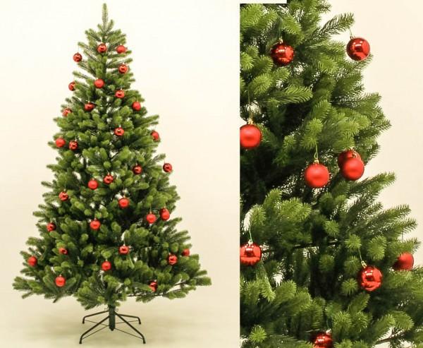 Künstlicher Tannenbaum mit roten Kugeln, Spritzguss Nadeln schwer entflammbar auf 766 Tips, 180cm