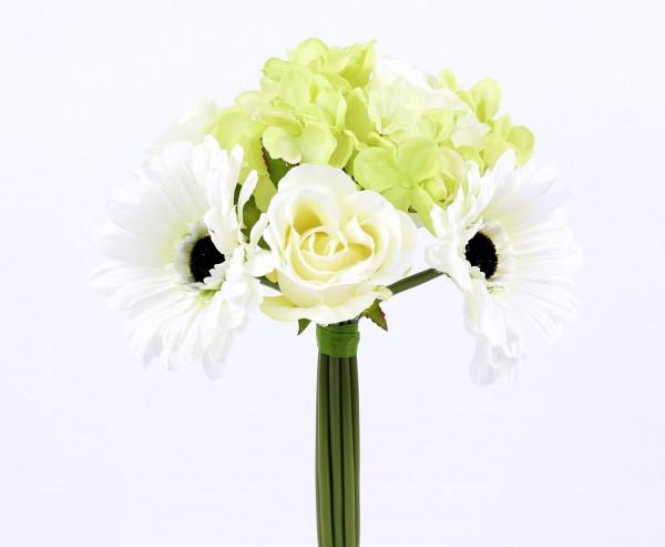 """Blumenbündel """"Mia"""" mit 10 weiss-grün farbigen Blüten Ø 20cm"""