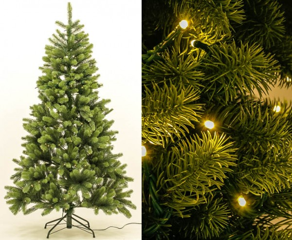PE Weihnachtsbaum mit Beleuchtung 210cm, 1156 Tips mit Spritzguss Nadeln