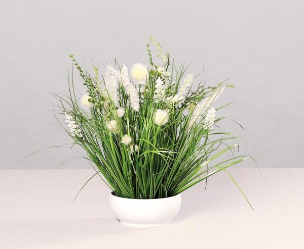 Wiesen Kunstblumen Arrangement creme-weiß farbig in runder Schale mit 40cm