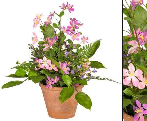 Kunstblumen Wiesen Arrangement lila rosa farbig im Topf mit 37cm