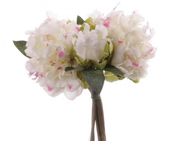 Kunstblumen Bouquet aus Pfingstrosen weiß, 25cm