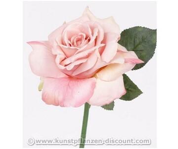 Künstliche Rose mit wasserfesten Stil und einer rosa farbigen Blüte, 31cm