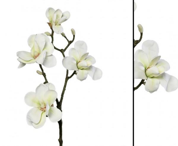 Kunst Blumen Magnolien Zweig mit 4 Blüten weiß farbig 82cm