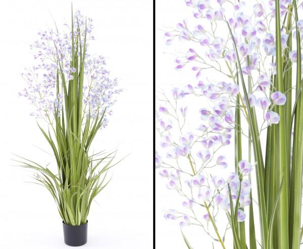 Künstliches Orchideengras mit blau-lila farbigen Blüten 140cm