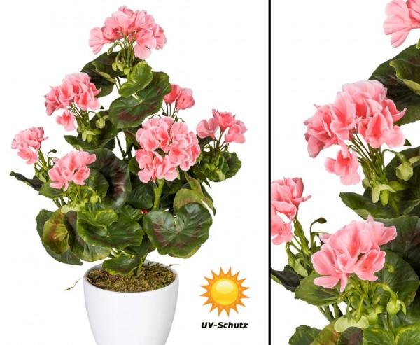 Künstliche Geranien Blume rosa blühend UV-Beständig mit 40cm