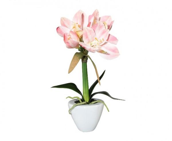 Amaryllis Kunstblume 37cm mit rosa farbigen Blüten im Keramiktopf