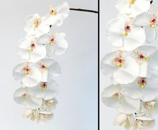 """Künstliche Orchidee """"real touch"""" mit 11 weißen Blüten, Länge 102cm"""