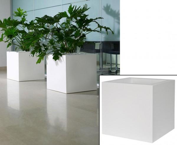 Übertopf Kube weiß mit 30x30cm aus Kunststoff zum Bepflanzen