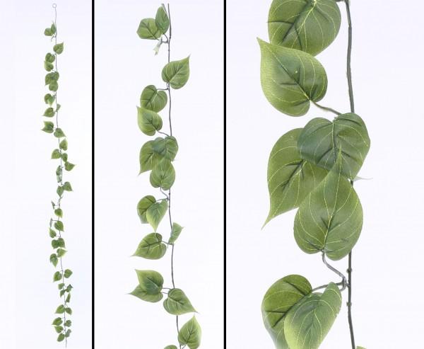 Künstliche Philodendron Girlande mit 48 grünen Blättern 180cm
