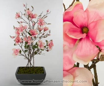 "Kunstblumen Gesteck ""Korea"", Magnolien mit Topf, Höhe 109cm, rosa"