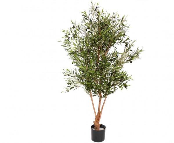 Olivenbaum mit ca. 4160 Textil Blättern, 120 Oliven und Naturstamm, Höhe 170cm