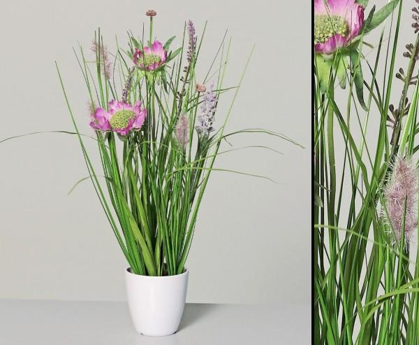 Kunstpflanzen Wiesenblumengras pink-lila farbig im Topf mit 35cm
