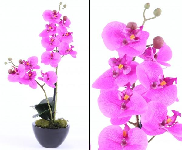 Orchideen Kunstblumen Arrangement mit violette Blüten im Topf 53cm