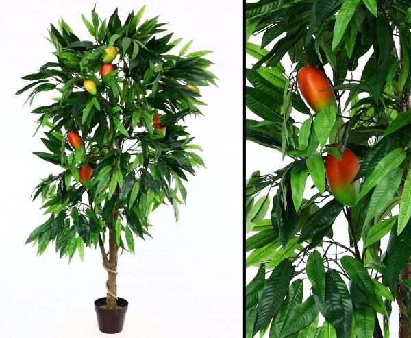 Künstlicher Mangobaum mit Früchten im Topf mit 180cm