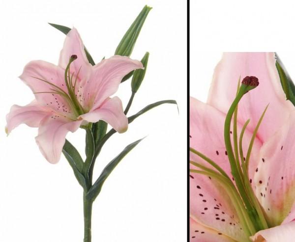 Kunstblume Tigerlilie mit 1 Blüte, 2 Knospen und 5 Blätter, 40cm