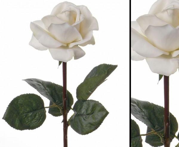 Gefühlsechte Rosen Kunstblume weiß 35cm lang
