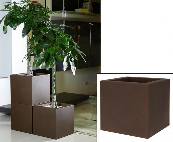 Übertopf Cube rost-farbig mit 30x30cm aus Kunststoff zum Bepflanzen