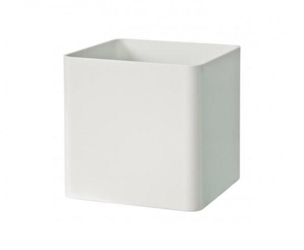 Eckiger kleiner weißer Übertopf als Cube mit 16x16cm aus Kunststoff