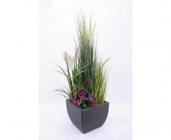 Kunstpflanzen Arrangement Gras mit Kunstblume Set mit Übertopf Höhe ca. 150cm