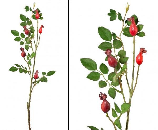 Künstlicher Zweig Hagebutten 79cm mit 5 Früchten