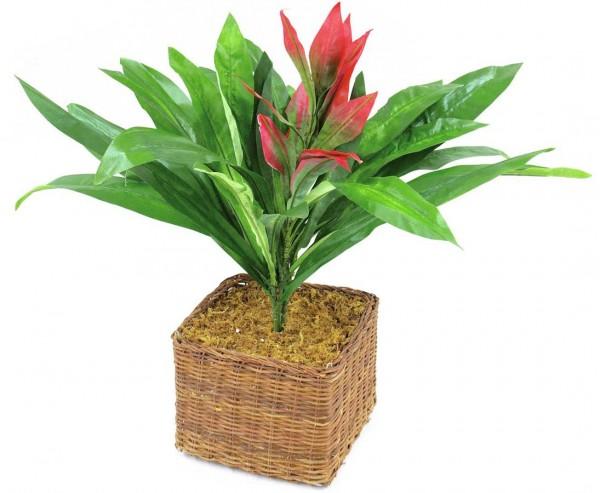 Guzmania Kunstpflanze mit roter Blüte, 27 Blätter, Höhe 48cm