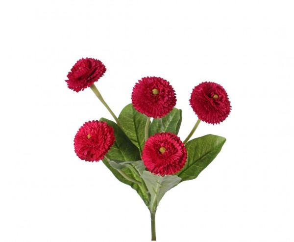 Kunstblume Bellis perennis Gänseblümchen mit 5 roten Blüten Höhe 24cm