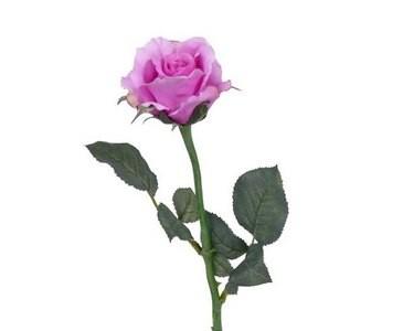 Kunstblume Rose mit 2 Äste und rose farbiger Blüte, Länge 58cm