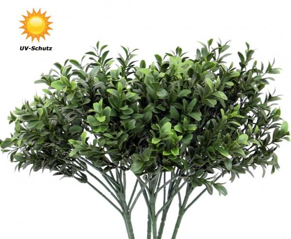 Wetterfeste Kunstpflanzen Zweig mit 476 UV-sichere Buchsblätter 47cm
