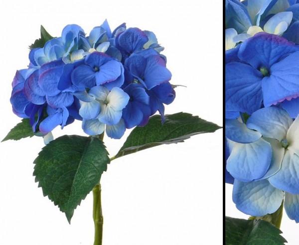 Kunstblume Hortensie mit blauer Blüte, Stiel wasserfest, Länge 48cm