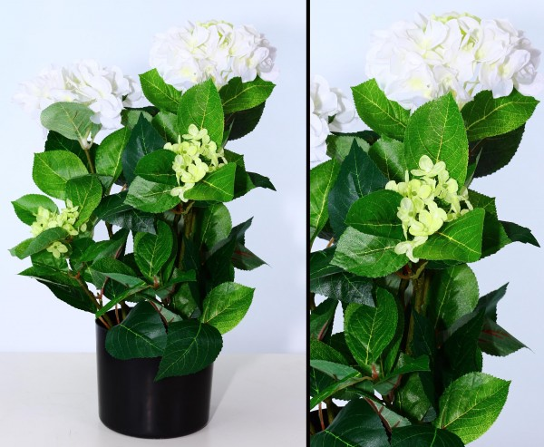 Kunstblumen Hortensien im Topf 50cm hoch mit weiß/creme farbenen Blüten