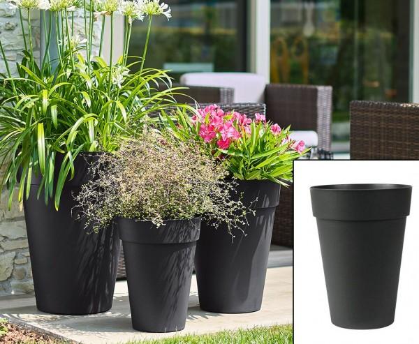Pflanzgefäß anthrazit 36cm hoch mit Ø 27cm wunderschön und günstig für Bepflanzungen