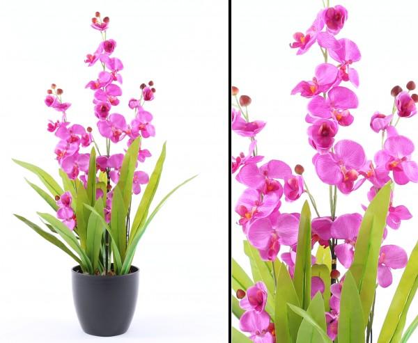 Künstliche Orchidee mit violett leuchtenden Blüten 80cm mit Topf